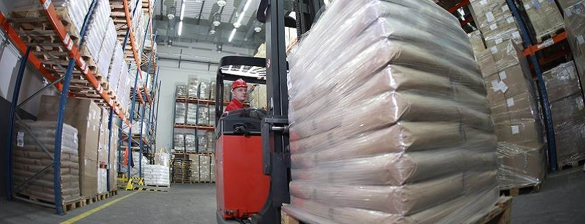Multi-wall bags in a warehouse.
